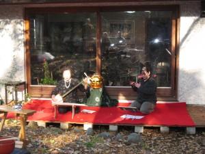 猩々の演奏。仲林光子先生と利恵さん。
