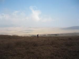 セレンゲッティ国立公園へ向い、なだらかに下る。マサイが一人、槍を高く上げた。